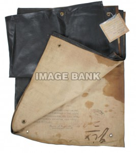 Rubberized blanket issued to troops as a ground cover used by a soldier of the 15th Massachusetts Volunteers