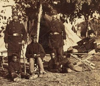 Officers and African American enlisted men of the 2nd Rhode Island Camp at Camp Brightwood