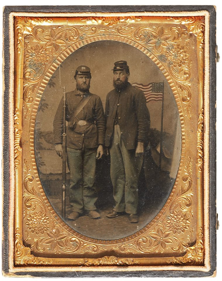Quarter Plate Tintype of Two Federal Infantrymen.