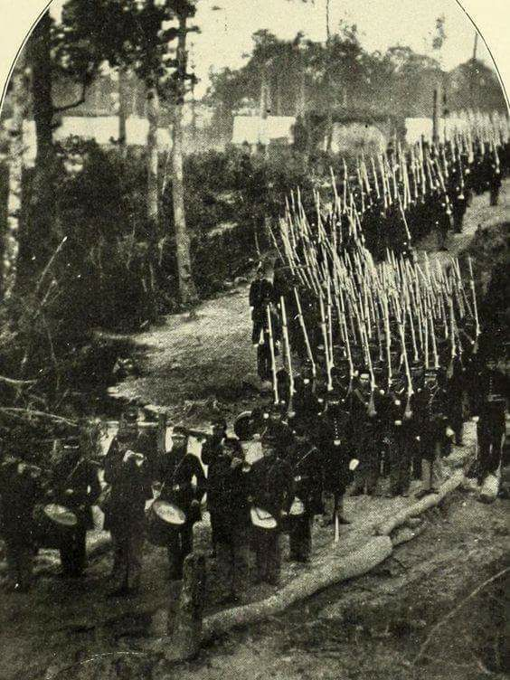 9th Vermont Infantry marching from their camp at New Bern, NC in 1863.